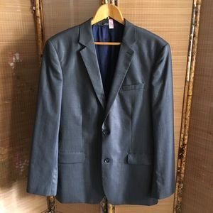 Express gray pinstripe wool blend suit jacket
